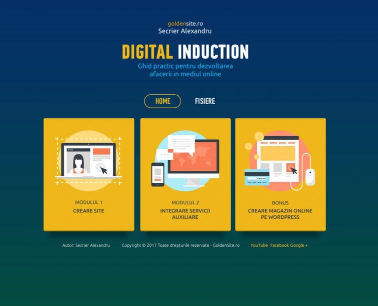 INTERFATA CURSULUI SI CONTINUTUL digital induction - curs creare site pe wordpress